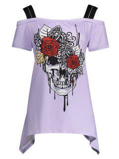 Skull Print Cold Shoulder Plus Size Top - Light Purple 5xl