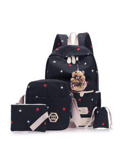 Floral Print 4 Pieces Backpack Set With Bear - Black