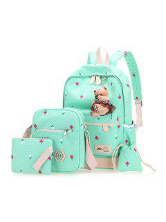 Floral Print 4 Pieces Backpack Set With Bear - Light Green