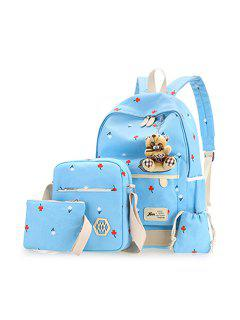 Floral Print 4 Pieces Backpack Set With Bear - Light Blue