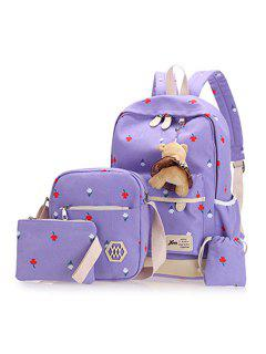 Floral Print 4 Pieces Backpack Set With Bear - Purple