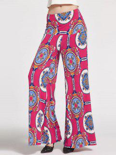 Pantalon Floral High Waisted Palazzo - Rose Rouge 2xl