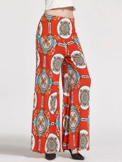 Floral Printed High Waisted Palazzo Pants - White + Orange + Blue M