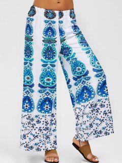 Elastic Waist Printed Gaucho Pants - Blue L