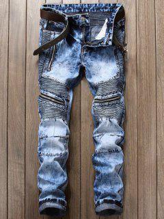 Zipper Design Biker Cuffed Jeans - Light Blue 36