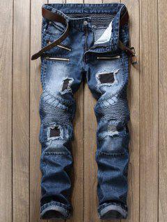 Pantalones Vaqueros Del Motorista Del Diseño Apenado Y De La Cremallera - Denim Blue 32