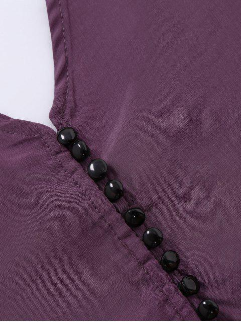 women's Button Up Spaghetti Strap Crop Tank Top - PURPLE L Mobile