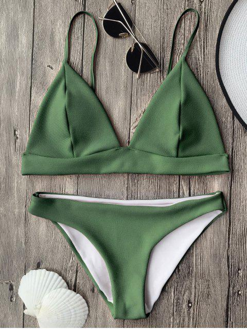 outfits Cami Plunge Bralette Bikini Top and Bottoms - GREEN S Mobile