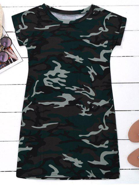shop Camo T-Shirt Dress - CAMOUFLAGE M Mobile