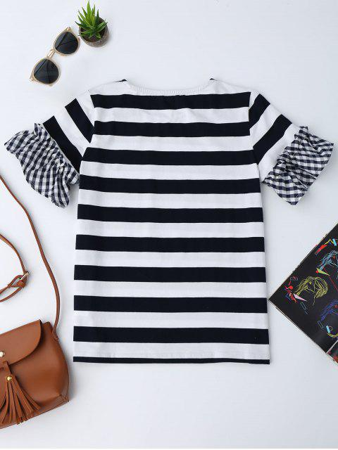 outfit Checked Sleeve Striped Ruffles Top - STRIPE S Mobile