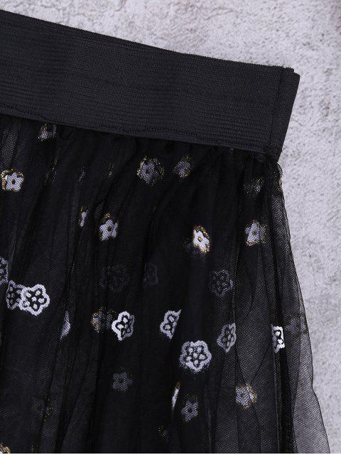 Jupe cover up de plage transparente en tulle - Noir TAILLE MOYENNE Mobile