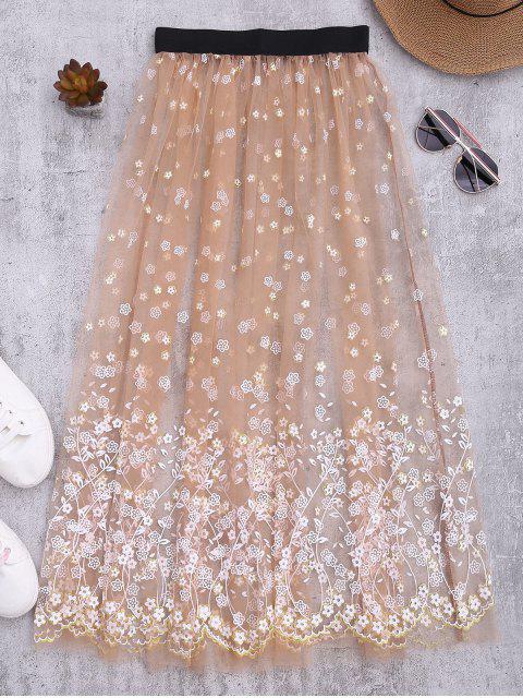 Jupe cover up de plage transparente en tulle - Rose Nu TAILLE MOYENNE Mobile