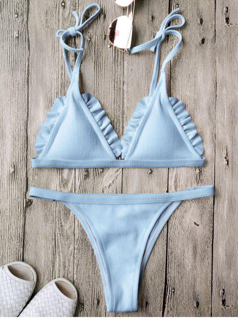 Ensemble de bikini à bretelle texturé côtelé à volants - Bleu S Mobile