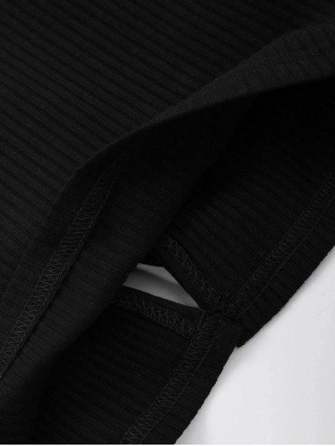 Top côtelé à lacets - Noir S Mobile