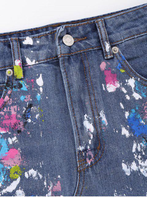Jupe en denim éclaboussure de peinture - Denim Bleu L Mobile