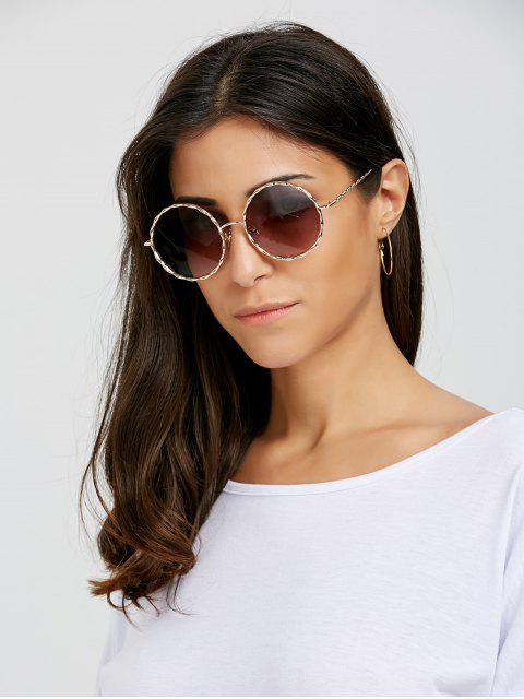 buy Wavy Metallic Frame Leg Ombre Round Sunglasses - TEA-COLORED  Mobile
