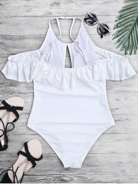 ladies High Neck Frilly Slimming One Piece Swimsuit - WHITE S Mobile