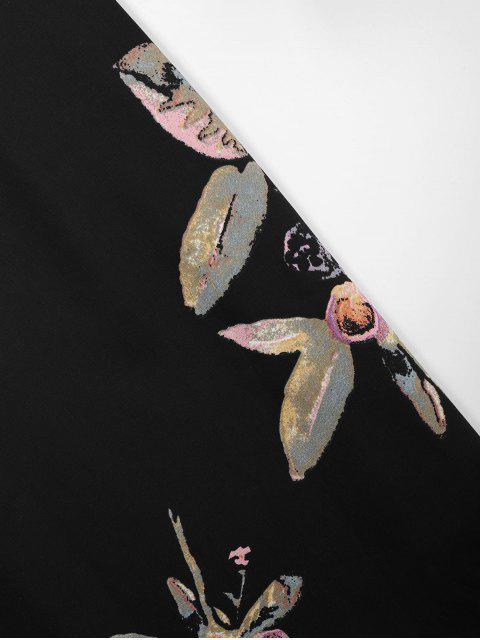 trendy Straps Floral Wide Leg Jumpsuit - BLACK M Mobile