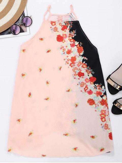 buy Cami Armhole Floral Color Block Beach Dress - PINKBEIGE L Mobile
