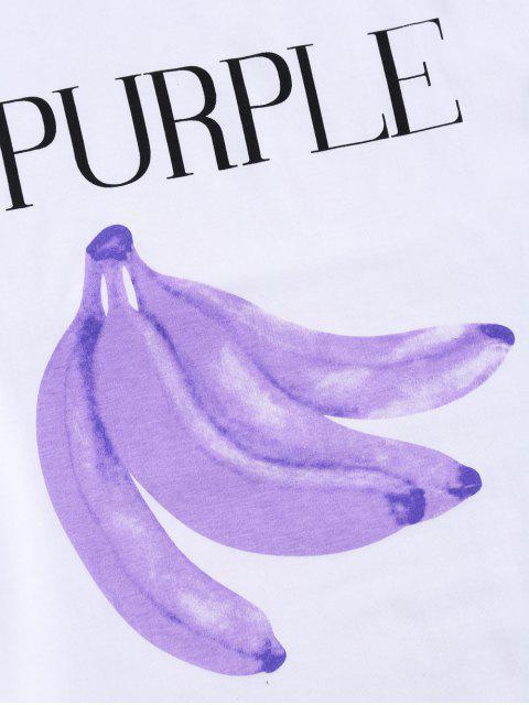 women Graphic Banana Short Sleeve T-Shirt - WHITE ONE SIZE Mobile