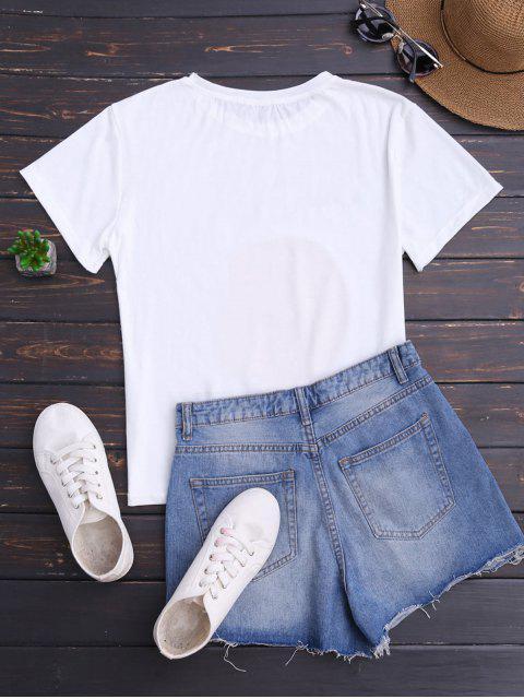 women's Short Sleeve Orange Print T-Shirt - WHITE ONE SIZE Mobile