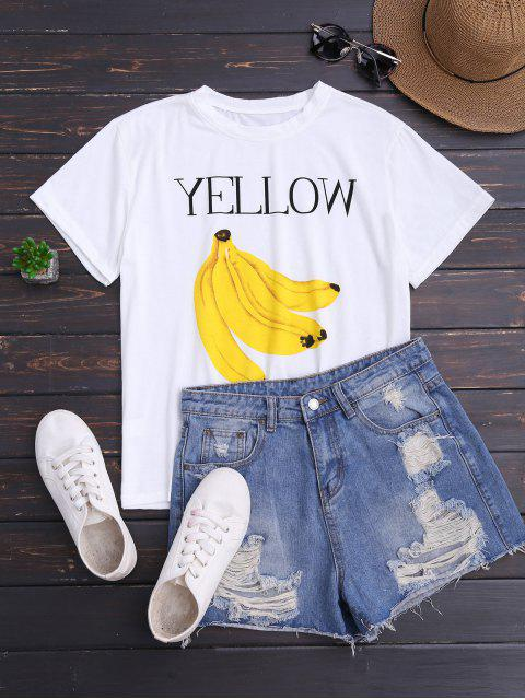 ladies Banana Print Short Sleeve T-Shirt - WHITE ONE SIZE Mobile