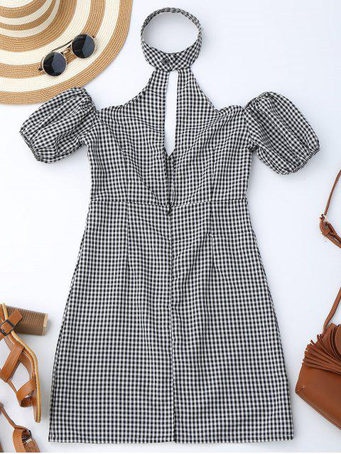 outfits Choker Empire Waist Plaid Dress - CHECKED S Mobile