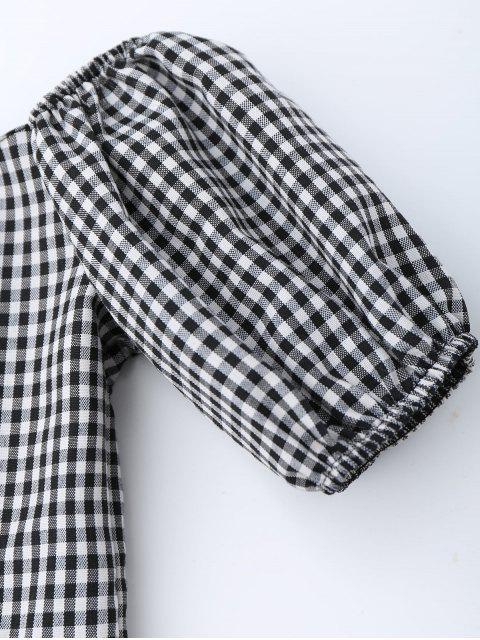 Robe en plaid à taille empire à col ras du cou - Carré XL Mobile