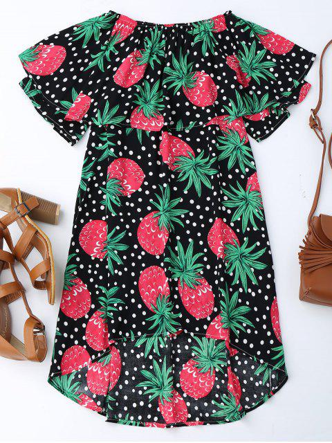 best Ruffle Off Shoulder Pineapple Dress - BLACK M Mobile