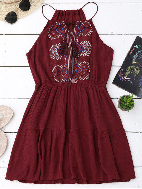 shop Embroidered Tassel Sundress - WINE RED ONE SIZE Mobile