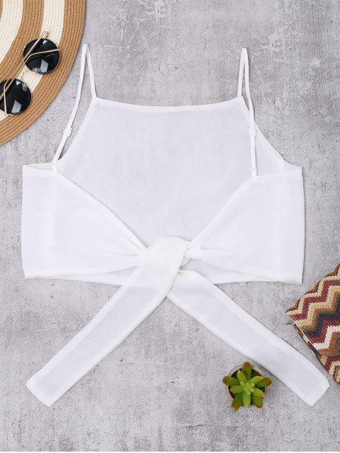 hot Tie Back High Neckline Crop Top - WHITE ONE SIZE Mobile