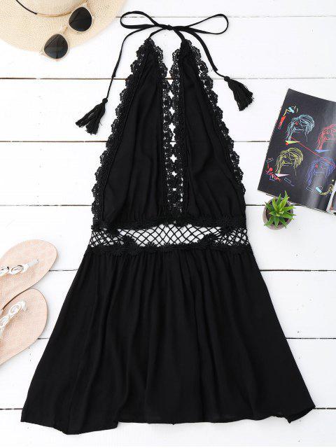 womens Halter Crochet Panel Backless Romper - BLACK S Mobile