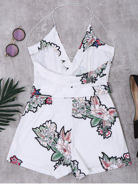 Combishorts florals à bretelle taille élastique dos nu - Blanc L Mobile