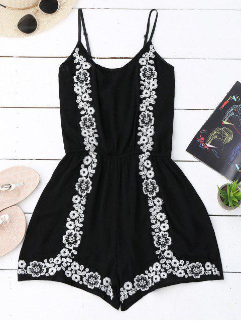shops Cami Floral Embroidered Romper - BLACK ONE SIZE Mobile