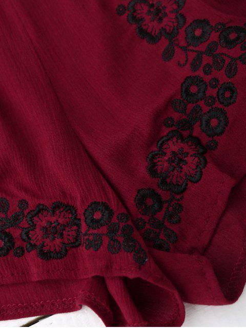 Combishorts à bretelle avec broderie florale - Rouge vineux  TAILLE MOYENNE Mobile