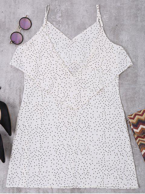 buy Cami Ruffle Polka Dot V Back Dress - WHITE L Mobile