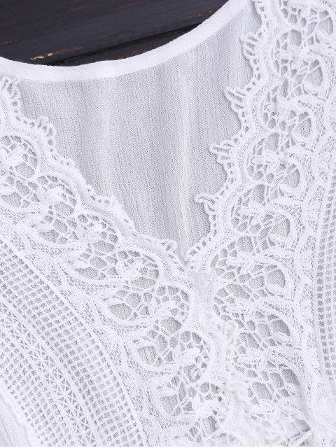 Robe de Plage en Crochet à Empiècement Dentelle à Col en V - Blanc TAILLE MOYENNE Mobile