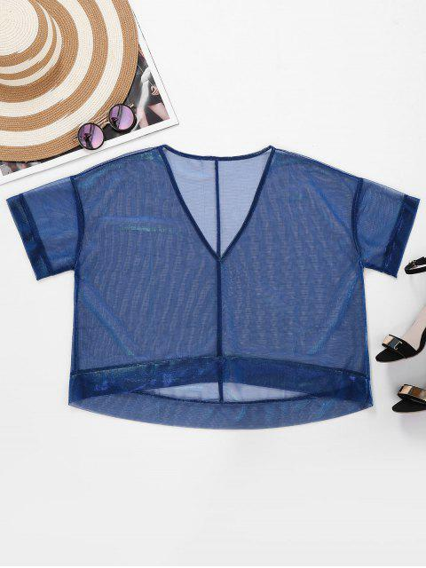 outfits V Neck High Low Glitter Top - PEACOCK BLUE L Mobile
