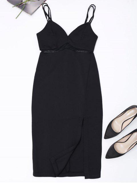 unique Straps Slit Mesh Panel Sheath Dress - BLACK S Mobile