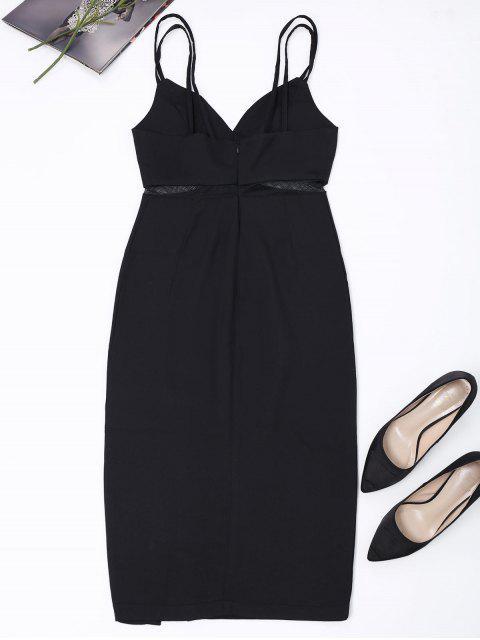 sale Straps Slit Mesh Panel Sheath Dress - BLACK M Mobile