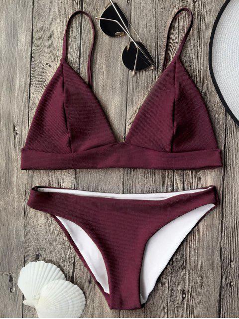 best Cami Plunge Bralette Bikini Top and Bottoms - BURGUNDY M Mobile