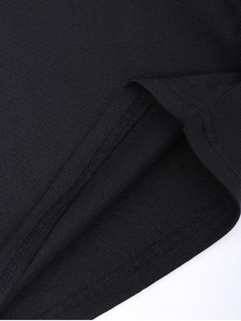 best Split Sleeve Lace Up Knit Crop Top - BLACK M Mobile