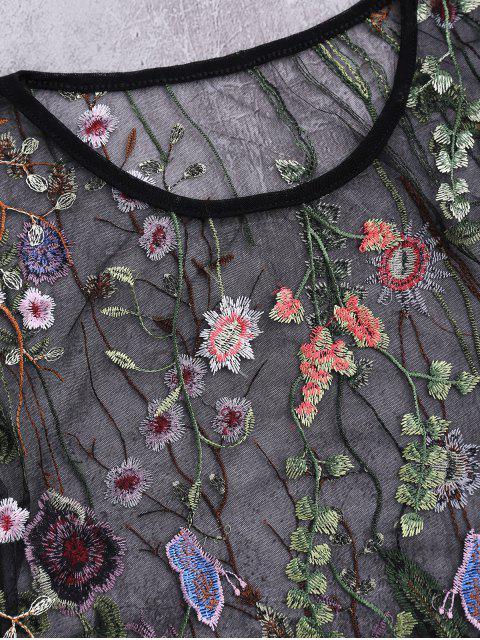 Top de couverture de plage transparent en maille avec broderie florale - Noir L Mobile