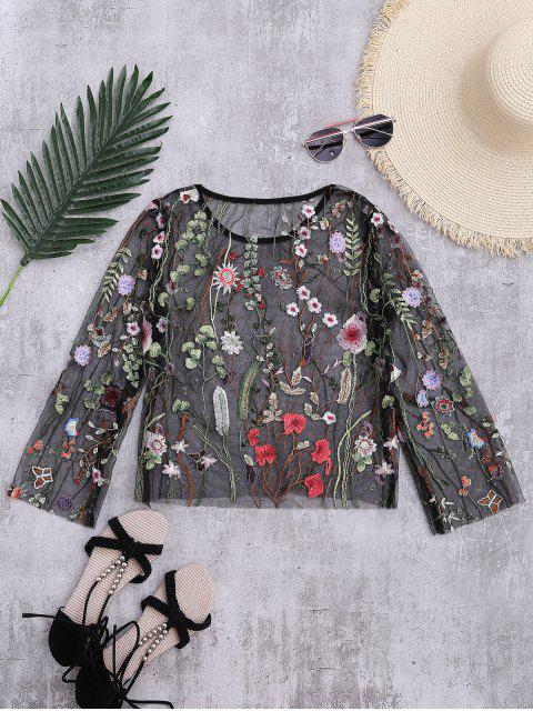 shops Floral Sheer Mesh Beach Cover Up Top - BLACK XL Mobile
