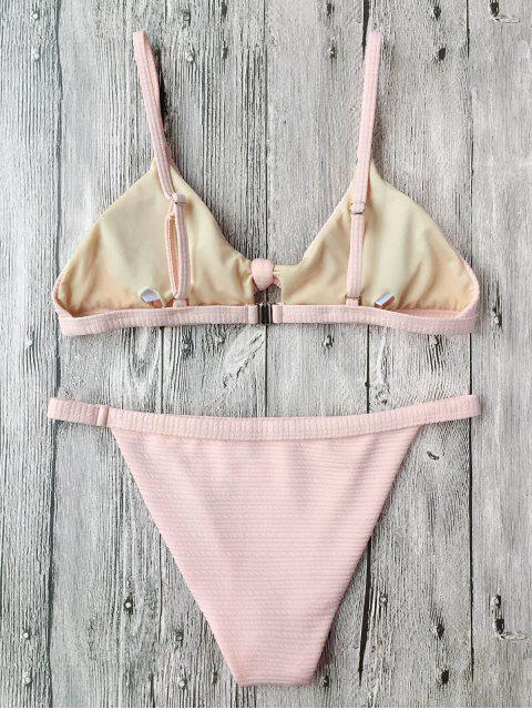hot Front Tied Textured Thong Bikini Set - PINK S Mobile
