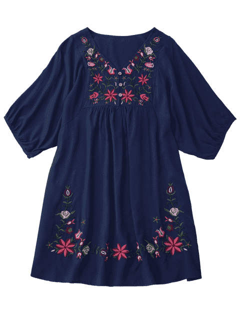 best Floral Embroidered V Neck Peasant Dress - PURPLISH BLUE ONE SIZE Mobile