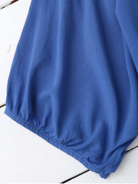 hot Floral Embroidered V Neck Peasant Dress - BLUE ONE SIZE Mobile