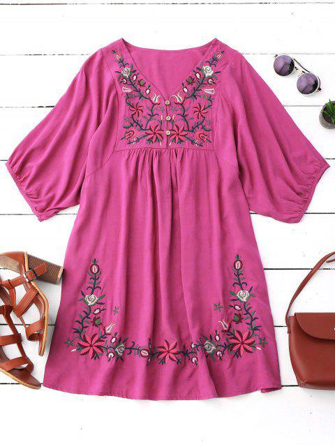 Vestido de Campesino con Cuello en V con Bordado Floral - Rosa Roja Única Talla Mobile