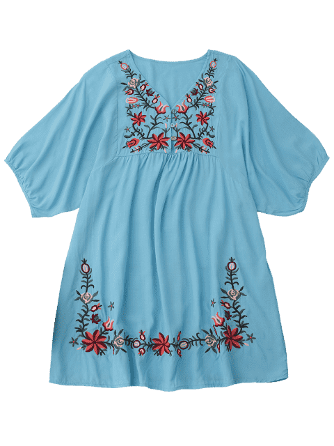 shop Floral Embroidered V Neck Peasant Dress - LAKE BLUE ONE SIZE Mobile