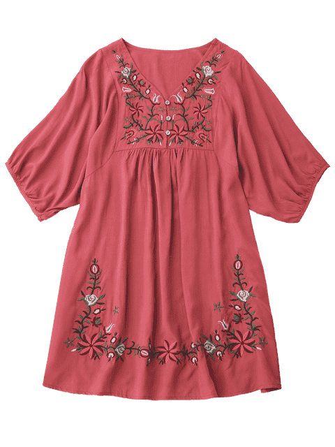 shops Floral Embroidered V Neck Peasant Dress - WATERMELON RED ONE SIZE Mobile